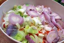 geschnittenes Gemüse für Rouladen